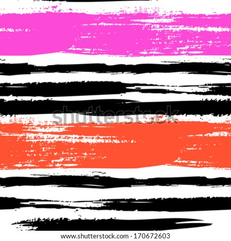 Multicolor striped pattern with horizontal brushed lines in bright pink and red. Texture for web, print, wallpaper, home decor, spring summer fashion fabric, textile, invitation background, gift paper - stock vector