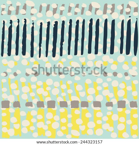 Multicolor watercolor painted seamless pattern. Abstract background with hand drawn dots and stripes. Vector watercolor lines background. Abstract multicolor texture. - stock vector