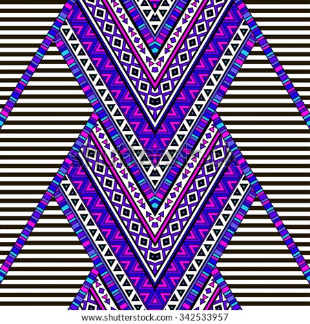 multicolor zigzag tribal Navajo seamless pattern with black and white strips. aztec abstract geometric art print. ethnic hipster backdrop. Wallpaper, cloth design, fabric, paper, wrapping, textile. - stock vector