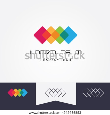 multicolored abstract logo element made of four transparent cubes mutually connected - black and white versions included- company visual identity - stock vector