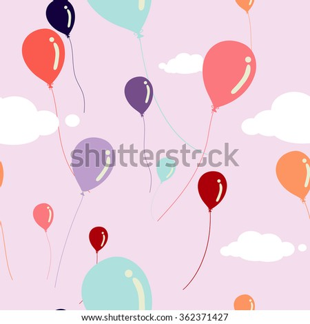 multicolored balloons seamless pattern - stock vector