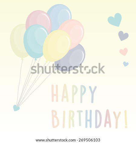 Multicolored balloons with colorful hearts and a happy birthday text. For card or background. - stock vector