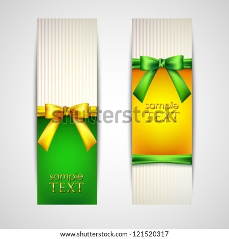 multicolored banners with bows and ribbons - stock vector