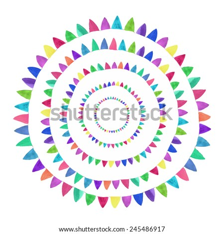 Multicolored bright abstract flower. Watercolor concept on the white background, aquarelle. Vector illustration. Hand-drawn decorative element useful for invitations, scrapbooking, design. - stock vector