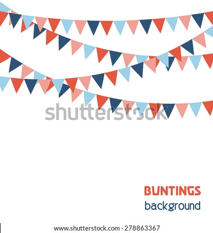 Multicolored bright buntings flags garlands isolated on white background - stock vector