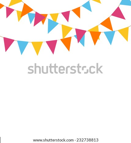 Multicolored bright buntings garlands isolated on white background - stock vector