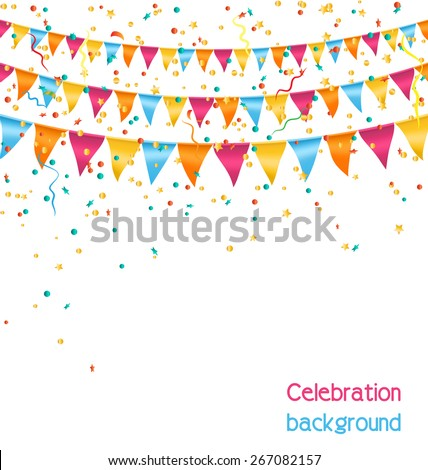 Multicolored bright buntings garlands with confetti isolated on white background - stock vector