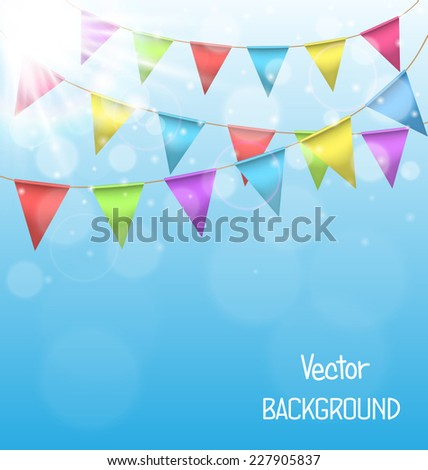 Multicolored bright buntings garlands with glares of the sun on sky background - stock vector