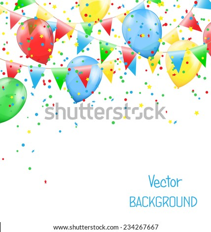Multicolored bright buntings garlands with inflatable air balls and confetti  isolated on white background - stock vector