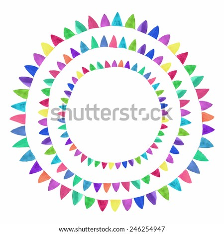 Multicolored bright flag composition. Watercolor concept on the white background, aquarelle. Vector illustration. Hand-drawn decorative element useful for invitations, scrapbooking, design. - stock vector