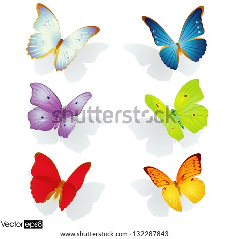 Multicolored butterflies collection - Vector Eps 8 file - stock vector