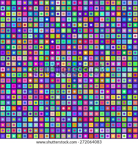 Multicolored Circles Inside Squares Seamless Background. EPS8 Vector - stock vector