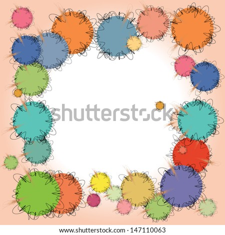 Multicolored circles with black and light brown curved lined frames on pink white background - stock vector
