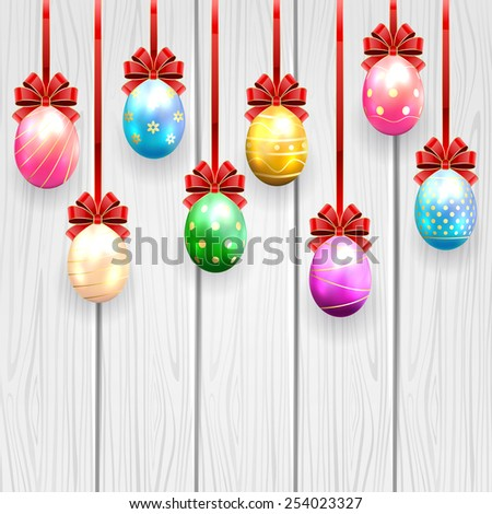 Multicolored Easter eggs with red bow on wooden background, illustration. - stock vector
