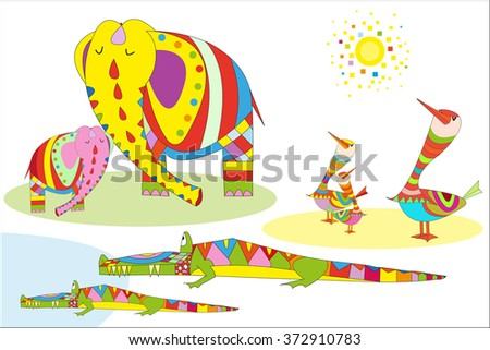 Multicolored elephant, crocodile and birds vector illustration patchwork of colored parts. Can be used for children books, printing on T-shirts, children furniture, wallpaper, kindergartens - stock vector
