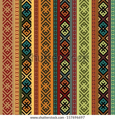 multicolored ethnic seamless background.  vertical stripes textures in green and orange, red, blue, black colors. colorful vector illustration - stock vector