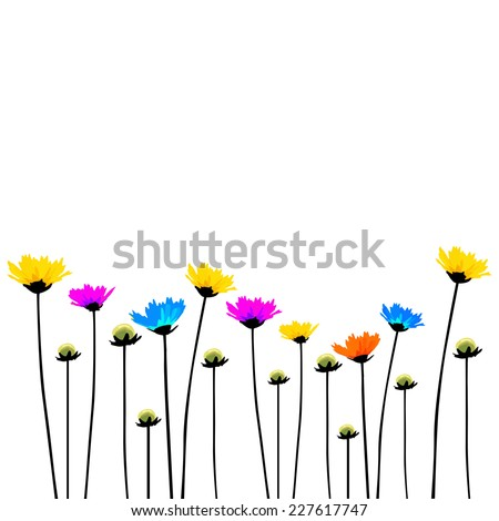 Multicolored flowers on a long stalk. Vector  - stock vector