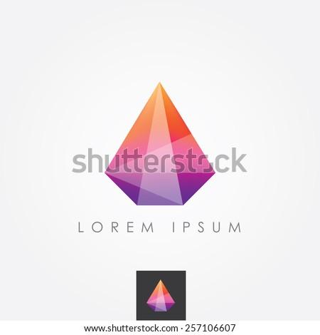 multicolored geometric polygon facet crystal gem logo icon - stock vector