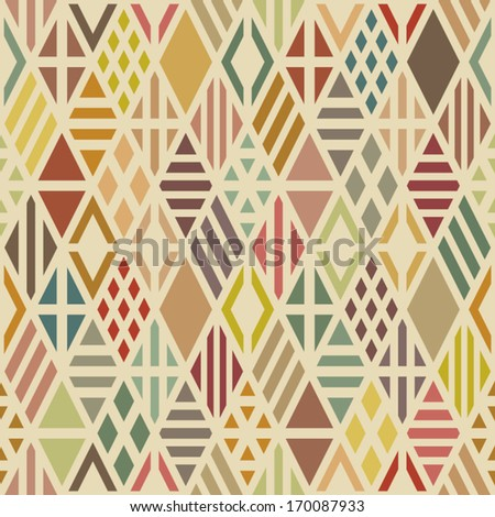 Multicolored geometric seamless pattern with rhombuses. Vector background. - stock vector