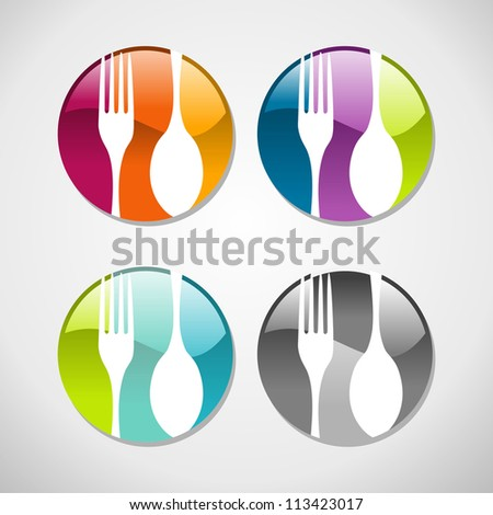 Multicolored glossy food web icons set background. Vector illustration layered for easy manipulation and custom coloring - stock vector