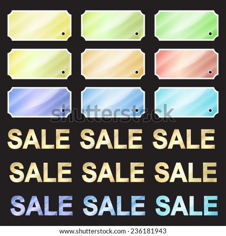 multicolored glossy vector stickers in the shape of a rectangle with rounded corners and in the inside and the inscription sale in these colors - stock vector