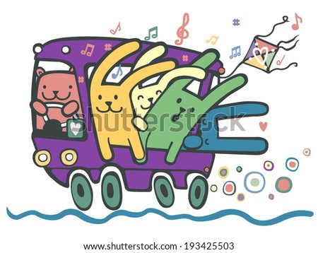 Multicolored hares are driving in the purple bus. - stock vector