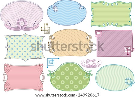 Multicolored holiday frames with different patterns in the background. Oval and rectangular labels with elements of the curl. - stock vector