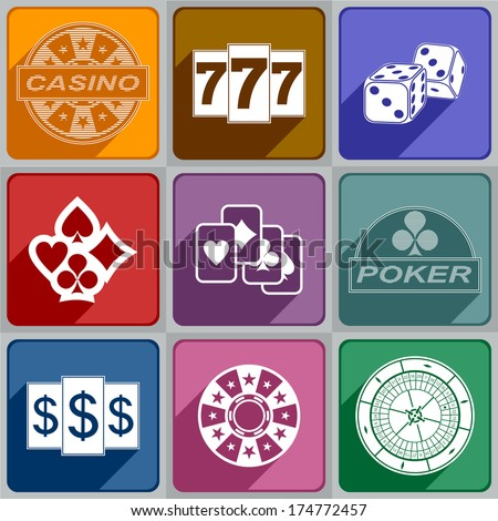 Multicolored icons relating to a casino.  - stock vector