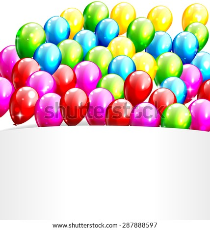 Multicolored Inflatable Celebration Bright Balloons with Frame Isolated on White Background - stock vector