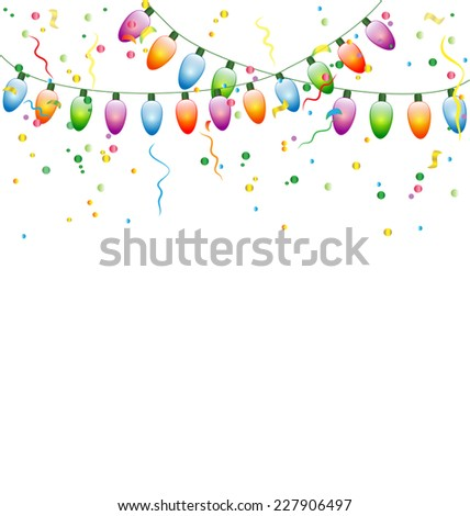 Multicolored led Christmas lights garlands with confetti isolated on white background - stock vector
