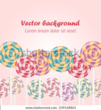 Multicolored lollipops on pink background - stock vector
