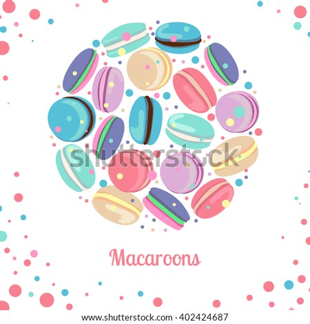 Multicolored macaroon concept. Multicolored macaroon-cookies in circle shape on white background. Vector illustration  for web, mobile and print. - stock vector