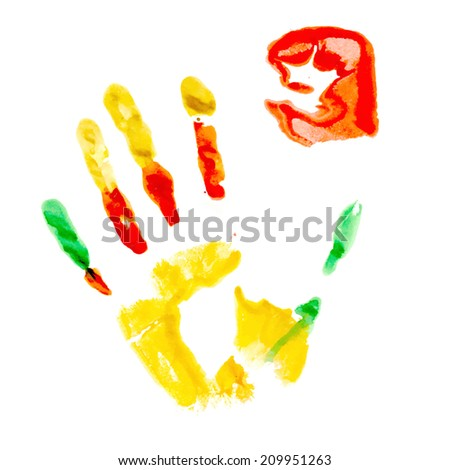 Multicolored paint print of human palm and fist - stock vector