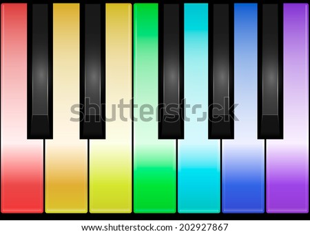 Multicolored Piano Keys. One octave. Vector illustration - stock vector