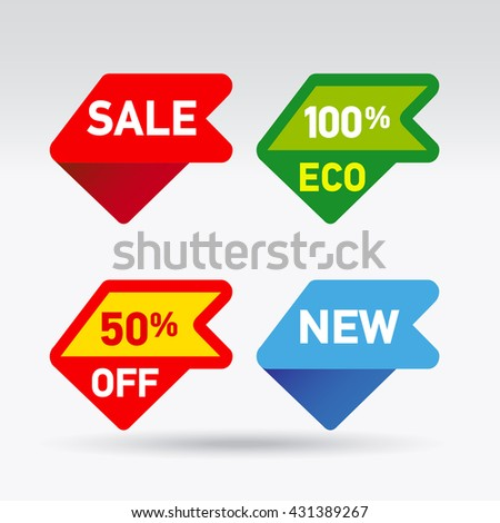 Multicolored pointers tags for retail. Sticker and label vector illustration. - stock vector