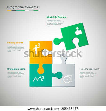 Multicolored puzzle piece infographic elements  - stock vector