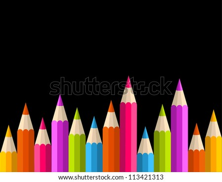 Multicolored rainbow pencils seamless banner pattern. Vector illustration layered for easy manipulation and custom coloring. - stock vector
