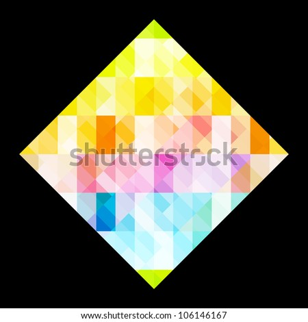 Multicolored rhombus design on black - stock vector
