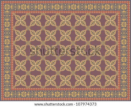 Multicolored Rug with a Traditional Look - stock vector