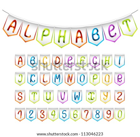 Multicolored set of alphabet and numbers' bunting flags - stock vector