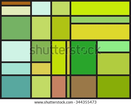 Multicolored stained glass window with irregular block pattern. Colorful vector illustration - stock vector
