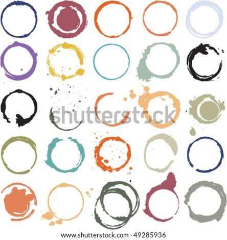 Multicolored vector grungy circles - stock vector