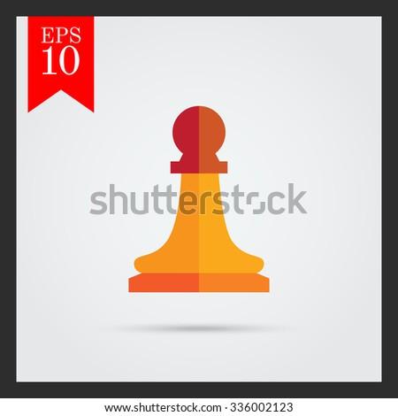 Multicolored vector icon of orange chess pawn - stock vector