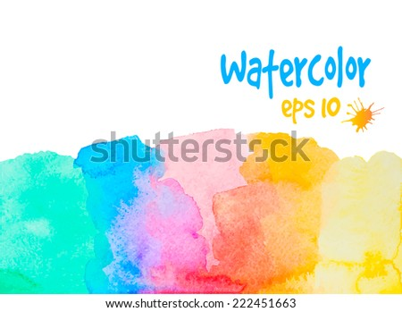multicolored vector watercolor painted border on white - stock vector