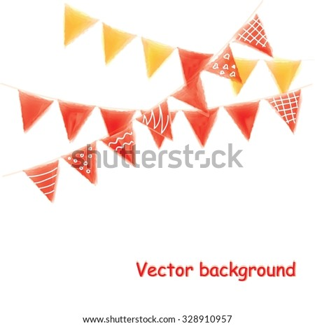 Multicolored watercolor buntings garlands isolated on white background, greeting card - stock vector