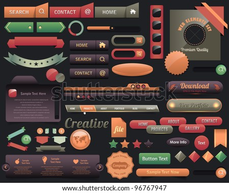 Multicolored Web Elements Vector Design Set - stock vector