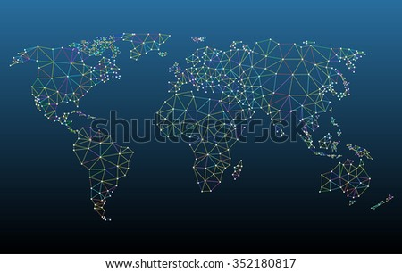 Multicolored world map network mesh. - stock vector
