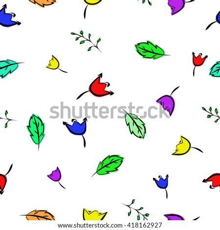 Multicolour flowers seamless pattern on a white background,vector illustration - stock vector