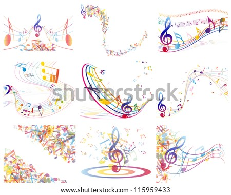 Multicolour  musical notes staff background. Vector illustration. - stock vector