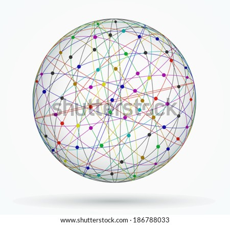 Multicoloured sphere of global digital connections, network - stock vector